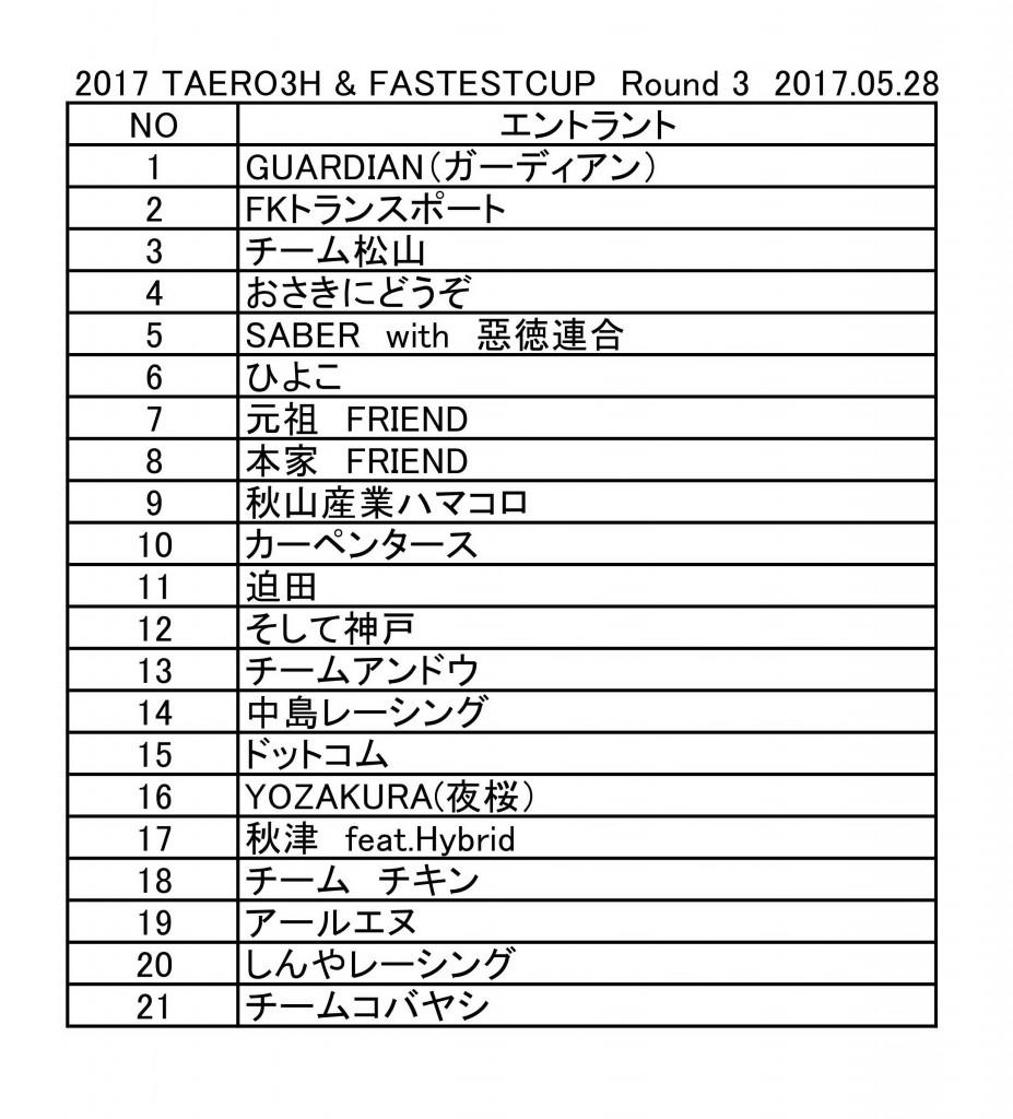 2017 第3戦Taero FASTEST ENTRY
